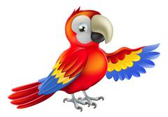 Red pointing cartoon parrot - stock illustration