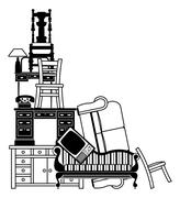 Stack of furniture - stock illustration