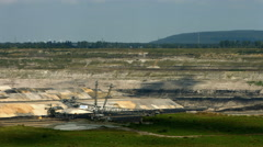 Tagebau Aldenhoven: paning shot of a lignite mine Stock Footage
