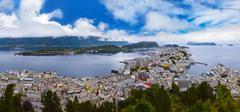 cityscape of alesund norway - stock photo