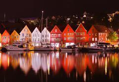 Stock Photo of famous bryggen street in bergen - norway