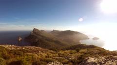 Overlooking island seascape scenery. coastal panorama view Stock Footage