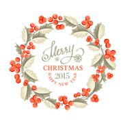 Christmas mistletoe wreath. - stock illustration