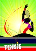 Stock Illustration of man tennis player poster. colored vector illustration for designers