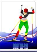 biathlon runner colored silhouettes. vector illustration - stock illustration