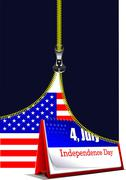 Zipper open usa flag with desk calendar image. vector illustration Stock Illustration