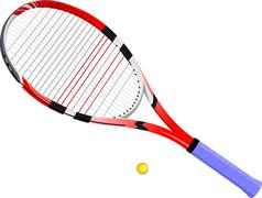 isolated image of a tennis racket and ball. vector illustration. - stock illustration
