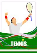 man tennis player poster. colored vector illustration for designers - stock illustration