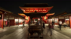 Time-lapse front view of people walking by incense cauldron at Senso-ji temple, Stock Footage