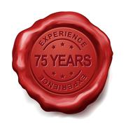 75 years red wax seal - stock illustration