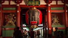 Time-lapse view of Kaminarimon entrance gate to Senso-ji temple, Tokyo, Japan Stock Footage