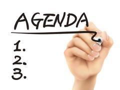 Stock Illustration of agenda word written by 3d hand