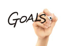 Stock Illustration of goals word written by 3d hand