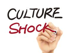 Culture shock words written by 3d hand Stock Illustration