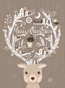 Stock Illustration of lovely moose design christmas card or poster
