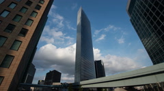 Time-lapse view of Shiodome business district and Yurikamome line, Tokyo, Japan Stock Footage