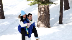 Winter Couple Stock Footage