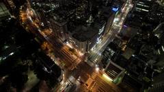 Time Lapse Pan Up Night View Of Traffic At Tomisakaue Crossing, Tokyo, Japan Stock Footage