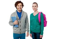 Stock Photo of Cheerful classmates posing together