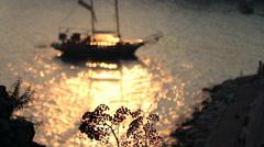 Sailing Ship at Sunset Stock Footage