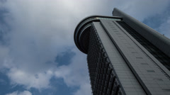 Time Lapse Pan Up View Of Bunkyo Civic Center Building And Clouded Sky, Tokyo, Stock Footage
