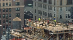Construction workers working building site Manhattan, NYC, NY. 4K UHD Timelapse. Stock Footage