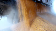 Corn in a silo, slow motion Stock Footage