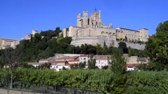 béziers cathedral saint nazaire, languedoc, france - stock footage