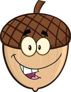 Smiling Acorn Cartoon Cartoon Mascot Character Stock Illustration