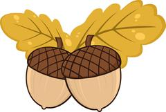 Two Acorn With Oak Leaves Cartoon Illustrations Stock Illustration