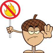 Angry Acorn Cartoon Character Holding Up A Fire Stop Sign Stock Illustration