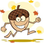 Acorn Cartoon Mascot Character Running With Fall Leaves Background Stock Illustration