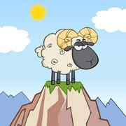 Angry Black Head Ram Sheep Cartoon Character On Top Of A Mountain - stock illustration