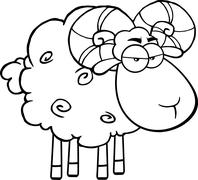 Black And White Angry Ram Sheep Cartoon Character - stock illustration