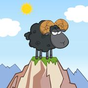 Angry Black Ram Sheep Cartoon Character On Top Of A Mountain - stock illustration