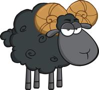 Angry Black Ram Sheep Cartoon Character - stock illustration