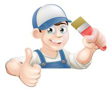 Paint brush man over sign thumbs up - stock illustration