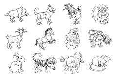 Chinese Zodiac Signs Stock Illustration