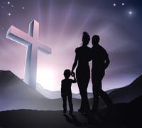 Easter Christian Cross Family Stock Illustration