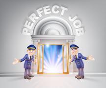 Door to Perfect Job and Doormen - stock illustration