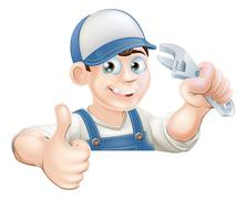 Wrench man over banner thumbs up - stock illustration