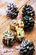 Symbolic christmas toys for the holiday spruce Stock Photos