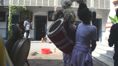 Mid close up of Indian Drums or dhak playing in Kolkata rich family. Stock Footage