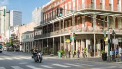 New Orleans French Quarter Decatur and St Peter Streets Stock Footage