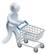 Shopping trolley gold man, a silver mascot person pushing a supermarket shopping Stock Illustration
