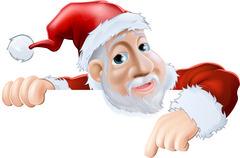 Happy cartoon Santa pointing down Stock Illustration