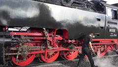 4k Steam locomotive engine on Harz Brocken peak closeup pan Stock Footage