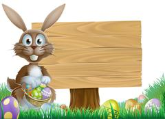 Rabbit and Easter sign Stock Illustration