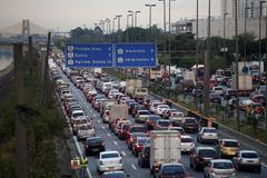 view over the marginale of sao paulo, ayrton senna highway at rush hour, sao  - stock photo