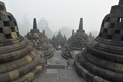 borobodur, unesco world heritage site, kedu plain, java, indonesia, southeast - stock photo